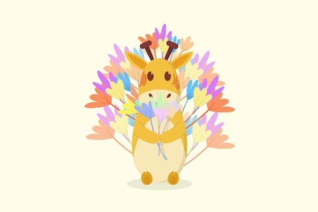 Giraffe hält blume und mit hintergrundblume
