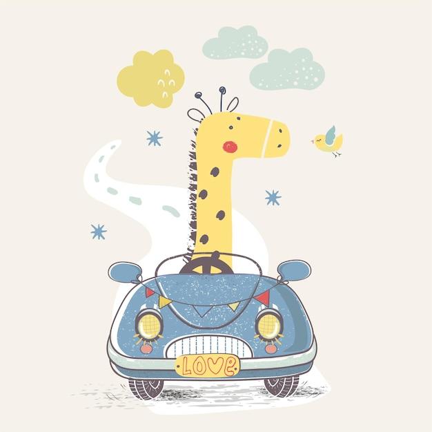Giraffe in autohand gezeichnet kann für kinder oder babys verwendet werden designfashion grafik kinderkleidung