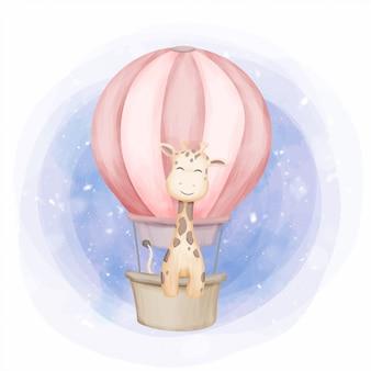 Giraffe mit luftballon fliegen