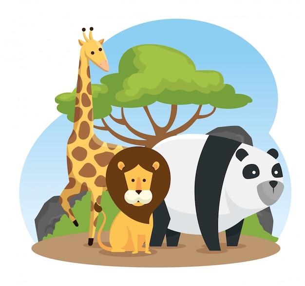 Giraffe mit wilden tieren des löwes und des pandas