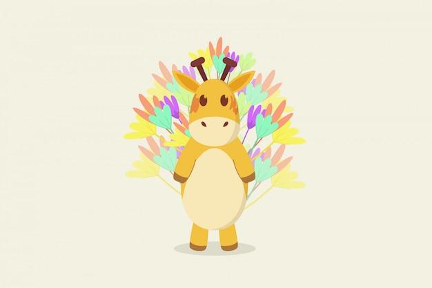 Giraffe steht hintergrundblume
