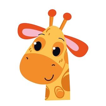 Giraffe-symbol und symbol-vektor-illustration kindischer stil isoliert tierbabyzoo