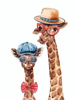 Giraffe und baby tragen einen hut und eine brille aquarell. giraffenfarbe.