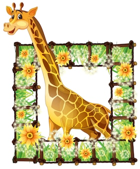 Giraffe und blumenrahmen
