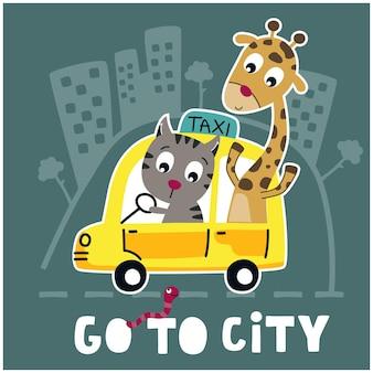 Giraffe und katze auf der lustigen tierkarikatur des taxiautos