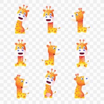 Giraffen-cartoon mit verschiedenen posen und ausdrücken.