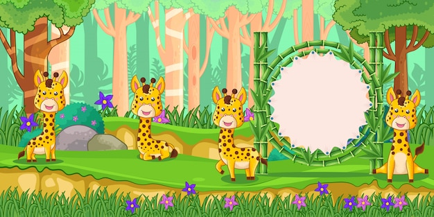 Giraffen mit einem leeren zeichenbambus im wald