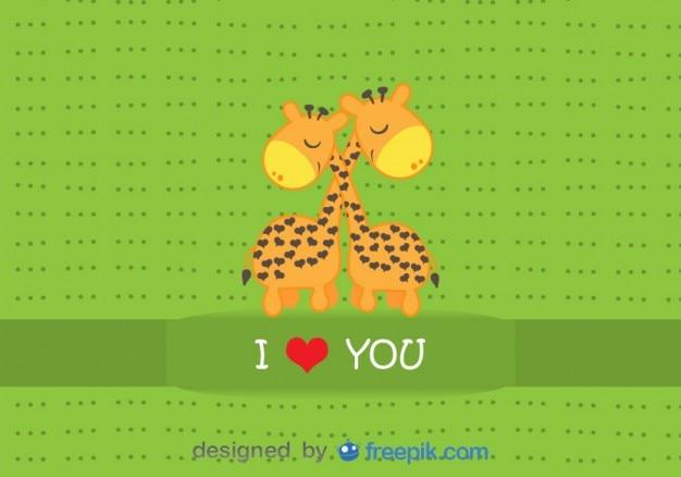 Giraffen umarmt - cartoon-vektor-karte