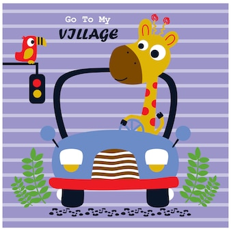 Giraffenautofahren, lustige tierkarikatur, vektorillustration
