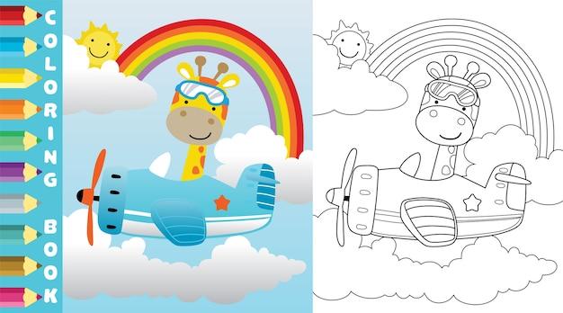 Giraffenfahrt im flugzeug auf regenbogenhintergrund
