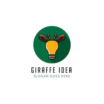 Giraffenideenlogo-entwurfsschablone auf kreisform. die logo-kombination von blub-lampe, giraffentier isoliert