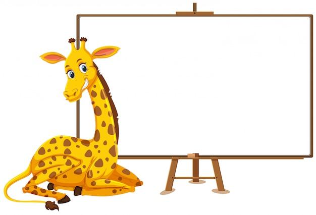Giraffenkarikaturfigur und leeres banner auf weißem hintergrund