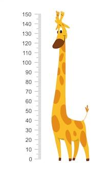 Giraffenmeterwand oder höhentabellenvektorillustration
