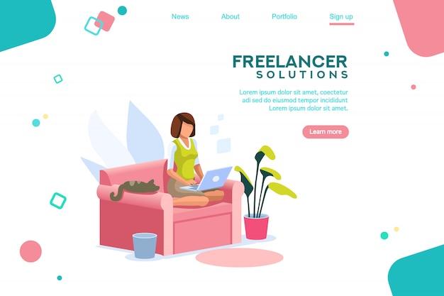 Girl freelancer template homepage