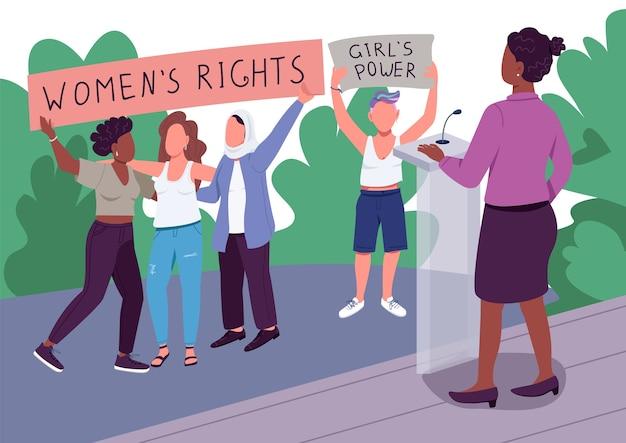 Girl power flache farbe. frauenrechte. empowerment von frauen. progressive bewegung. gesichtslose 2d-karikaturfiguren der mädchenart der revolution mit öffentlichem versammlungsort auf hintergrund