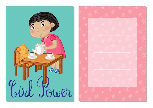 Girl power kids postcard template set