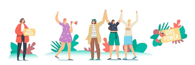 Girl-power-konzept. weibliche charaktere auf demonstration für frauenrechte. junge mädchen mit den händen hoch, feminismus und feminin, frauenstärkungsidee, zusammengehörigkeit. cartoon-menschen-vektor-illustration