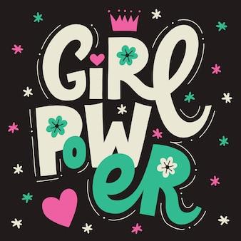 Girl power schriftzug poster. perfekt für drucke und soziale medien