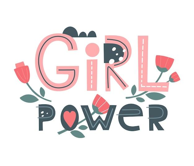 Girl power vektor womens motivationsslogan schriftzug für t-shirts poster poster