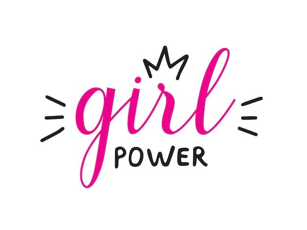 Girl power zitat handgeschriebene vektorbeschriftung. feministischer slogan für banner, print, t-shirt isoliert auf weißem hintergrund