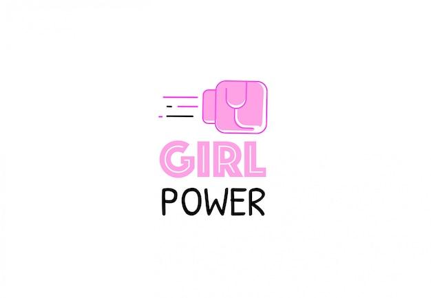 Girl power zitat. weibliche faust im rosa kampfhandschuh. frauenrechte inspiration logo. feministischer slogan. flache vektorgrafik.