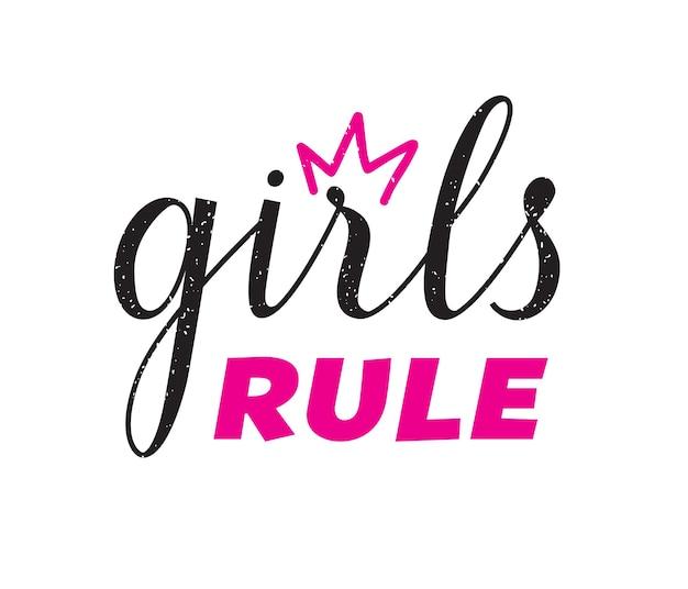 Girl rule zitat hand schriftzug drucken. vektorkalligraphisches illustrationskonzept für feministische bewegung.