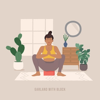 Girlande mit block-pose junge frau, die yoga-pose praktiziert