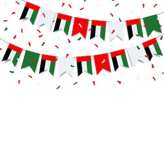 Girlande mit der flagge der vereinigten arabischen emirate