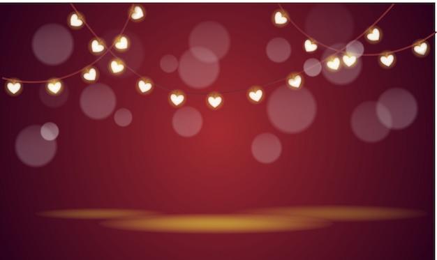Girlande mit lampen in herzform
