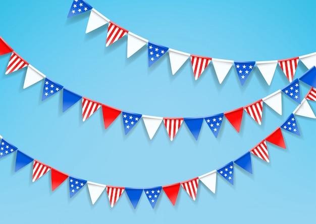 Girlanden der farbflaggen. feier des amerikanischen nationalfeiertags