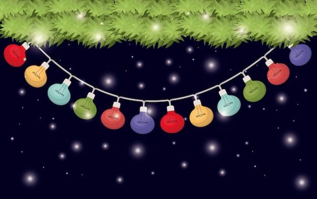 Girlanden mit hängenden weihnachtslichtern