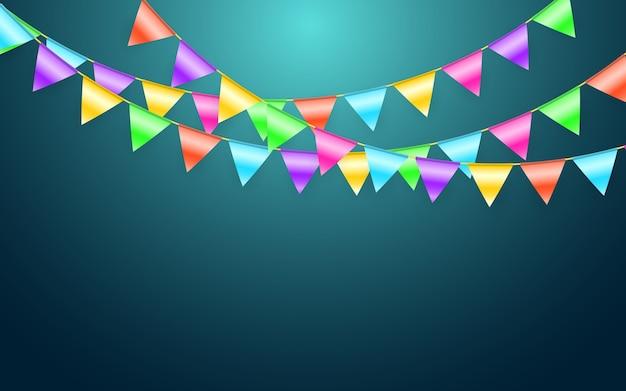 Girlandenflagge und konfetti im party- und genusskonzept. feier hintergrundvorlage.