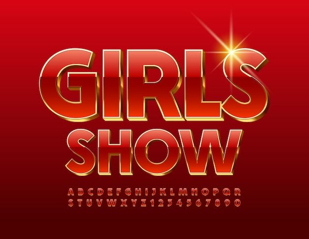 Girls show. rot und gold schrift. schickes glänzendes alphabet buchstaben und zahlen gesetzt