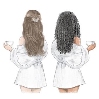 Girls spa day. junge frau im weißen bademantel mit einer tasse tee, handgezeichnete illustration.