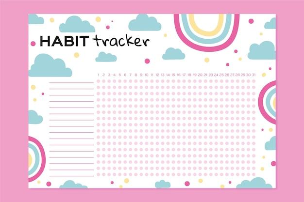Girly habit tracker vorlage mit regenbogen
