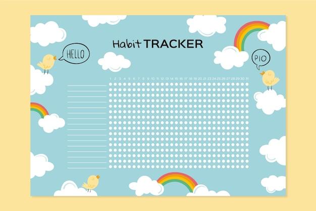 Girly habit tracker vorlage mit wolken und regenbogen