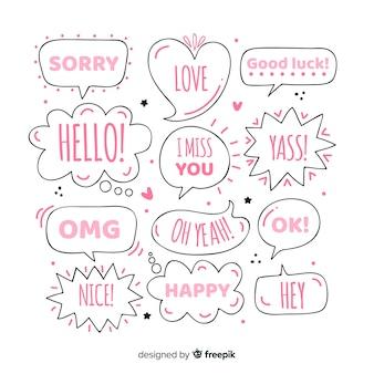 Girly hand gezeichnete spracheblasen mit verschiedenen ausdrücken