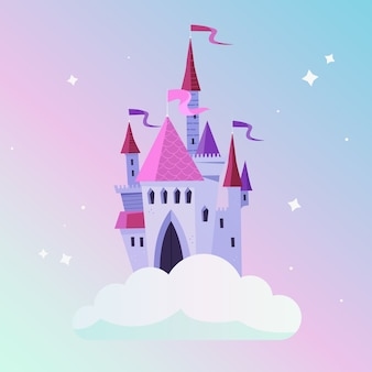 Girly märchenschloss auf wolke
