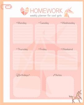 Girly wöchentlicher planer