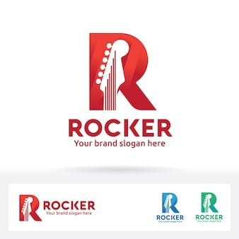 Gitarre im buchstaben r logo