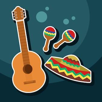 Gitarre, maracas und sombrero-hut mexikanische kultur bezogene ikone
