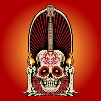 Gitarre mexikanischer schädel mit kerzen rosen vektorillustrationen für ihre arbeit logo, maskottchen-waren-t-shirt, aufkleber und etikettendesigns, poster, grußkarten, werbeunternehmen oder marken.