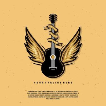 Gitarre mit flügeln illustration