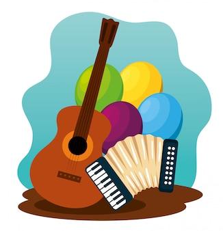 Gitarre mit luftballons und akkordeon zur festa junina