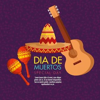 Gitarre mit maracas und hut für den tag der toten