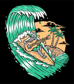 Gitarre spielen beim surfen illustration
