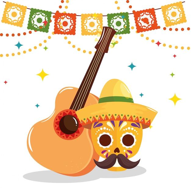 Gitarre und traditionelle cinco de mayo-elemente