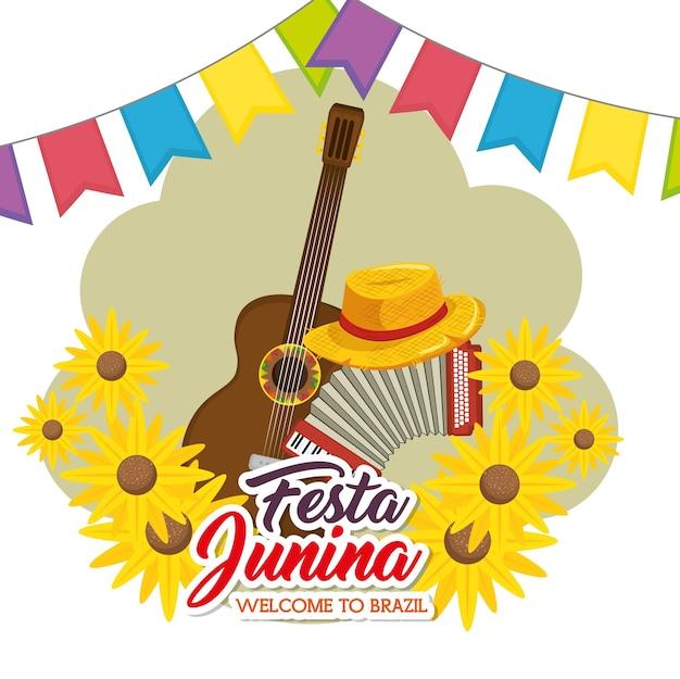 Gitarren akkordeonhut mit sonnenblumen und fahnen über beige und weißer hintergrund vector illustration