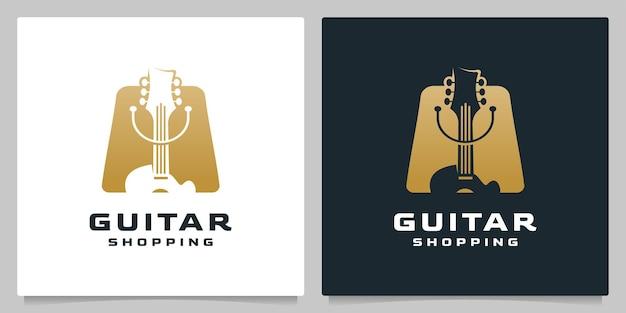 Gitarren-einkaufstasche einzelhandel mit gold-logo-design