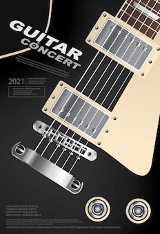 Gitarren-konzert-plakat-schablonen-illustration